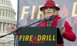 Jane Fonda addresses the twelfth Fire Drill Friday. Inspired by Greta Thunberg and the youth climate strikes Jane Fonda has moved to Washington, D.C. to be closer to the epicenter of the fight for our climate. Every Friday through January 2020, she leads weekly demonstrations on Capitol Hill to demand that action by our political leaders be taken to address the climate emergency we are in. We can't afford to wait.  Speakers for week twelve include: Rolf Skar, Assistant Campaigns Director at Greenpeace USA; Hana Heineken, Senior Campaigner, Responsible Finance at Rainforest Action Network. Gaurav Madan, Senior Forests and Land Campaigner at Friends of the Earth. Rolando Navarro, Renewable Natural Resources Engineer and expert on Peru's Amazonian forests at CIEL. Lily Tomlin, actress and activist., 8.19.90.12th Fire Drill Friday